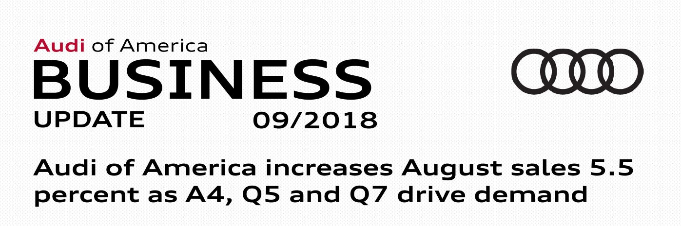Audi Of America Increases August Sales Percent As A Q And Q - Audi of america